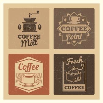 Koffiewinkel markt of café of restaurant vintage banners etiketten instellen