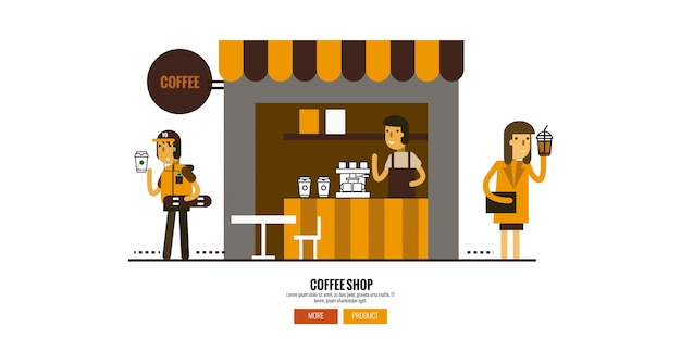 Koffiewinkel op straat met klanten