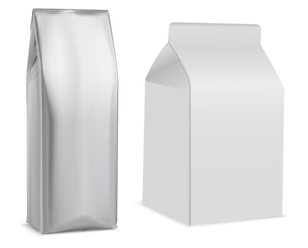 Koffiezakje, wit pakje, thee, koekje. papieren zak, melkpak, kleinhandelsproduct.
