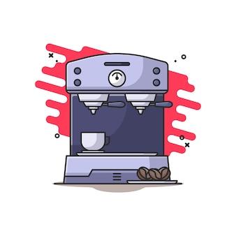 Koffiezetapparaat en koffiebonen illustratie