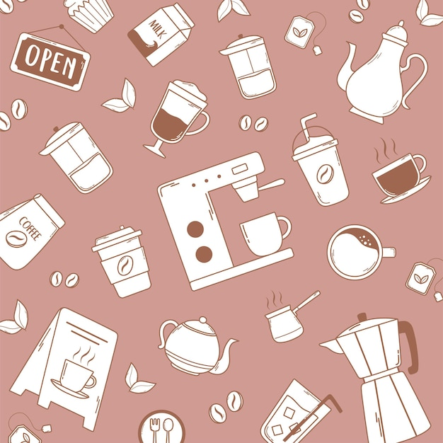 Koffiezetapparaat frappe latte moka pot waterkoker en bonen roze illustratie