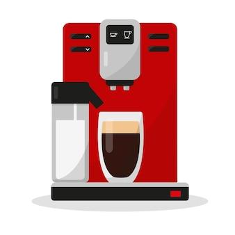 Koffiezetapparaat met geïsoleerd glas koffie en melk koffiemachine voor thuis en op kantoor