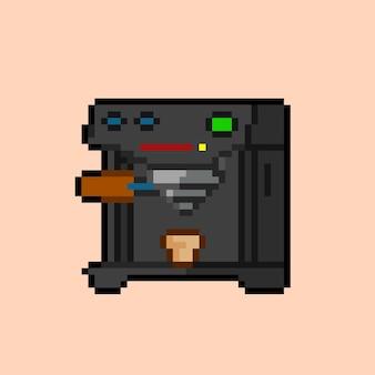 Koffiezetapparaat met pixelart-stijl