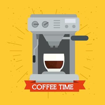 Koffiezetapparaat op geel ontwerp als achtergrond