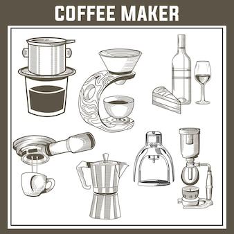 Koffiezetapparaat set Premium Vector