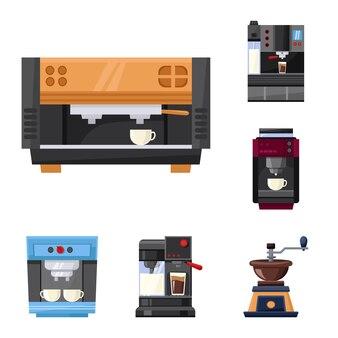 Koffiezetapparaat vector cartoon pictogramserie. geïsoleerde vector illustratie machine voor koffie. pictogram set van apparatuur voor café.