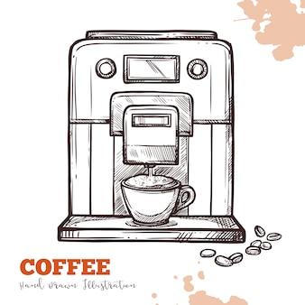 Koffiezetapparaat zwarte hand getrokken schets