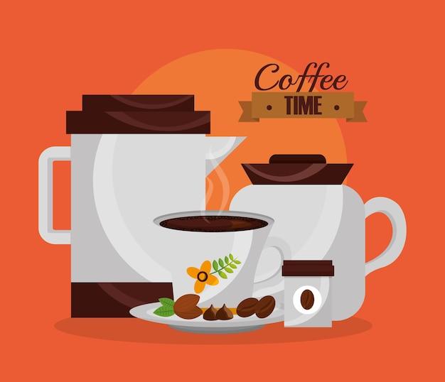 Koffiezetapparaten en cup korrels aroma vectorillustratie