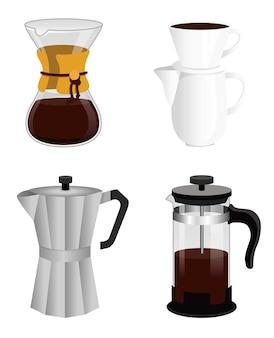 Koffiezetapparaten, franse pers, chemex, filterbrouwer, mokapot