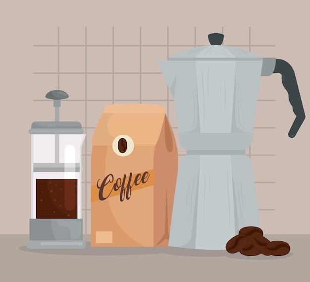 Koffiezetmethoden, aeropress en mokapot met zak met koffiedesign