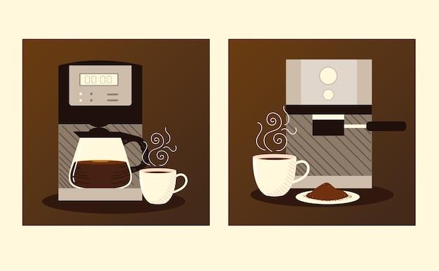 Koffiezetmethoden, digitaal apparaat en espressomachine en kopjes