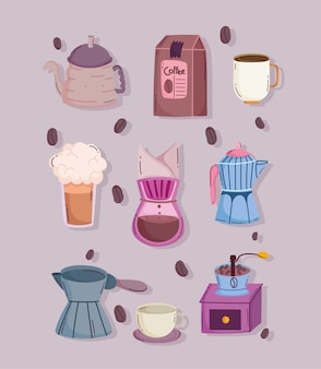 Koffiezetmethoden, handmatige molen infuus maker waterkoker beker pakket mokka pot iconen vector