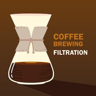 Koffiezetmethoden, hete drank van de filterpot, donkere achtergrond