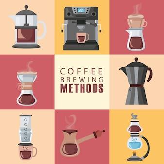 Koffiezetmethoden illustratie belettering en pictogrammen instellen