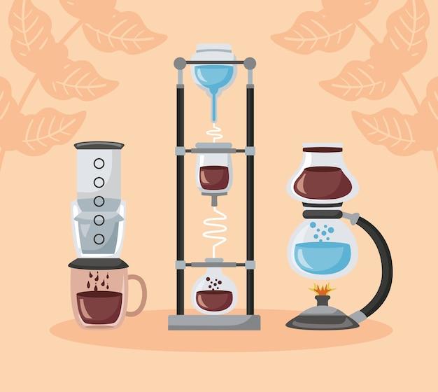 Koffiezetmethoden illustratie met set makers gebruiksvoorwerpen