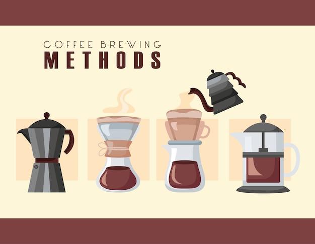 Koffiezetmethoden met set makers gebruiksvoorwerpen illustratie