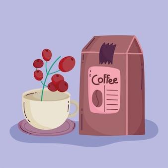 Koffiezetmethoden, productverpakking en kopje met zaden