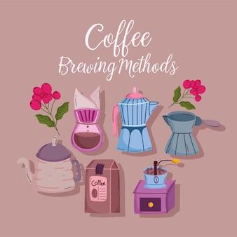 Koffiezetten methoden, mokka pot ketel pakket molen maker kaart