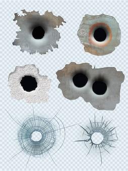 Kogelgat. neergestorte geweren opsommingstekens beschadigde oppervlak realistische sjabloon. illustratie glas crash, gebroken gat van pistool of wapen