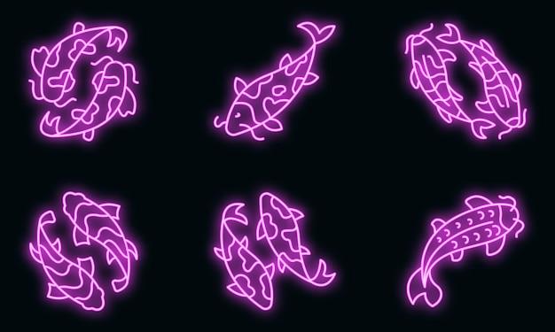 Koi karper pictogrammen instellen. overzicht set van koi karper vector iconen neon kleur op zwart