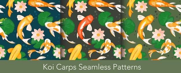 Koi-karper vissen naadloze patroon illustratie set.