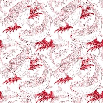 Koi-karpers japans wit rood naadloos patroon