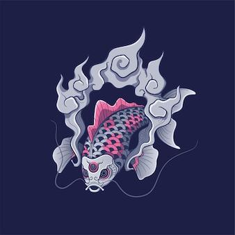 Koi-kunstwerk met japanse stijlillustratie
