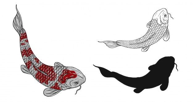 Koi vis tattoo met de hand tekenen
