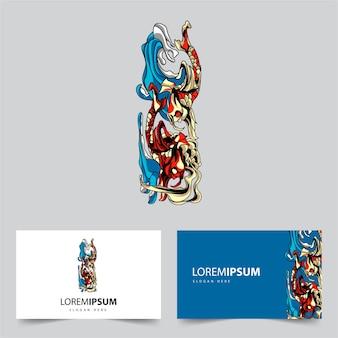Koi vis zee mascotte logo afbeelding