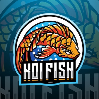 Koi vissen esport mascotte logo ontwerp