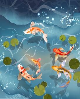 Koivissen, japanse karpers en kleurrijke oosterse koi die in water zwemmen.