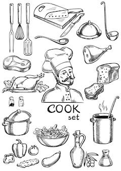 Kok, keuken, ingrediënten en apparatuurset