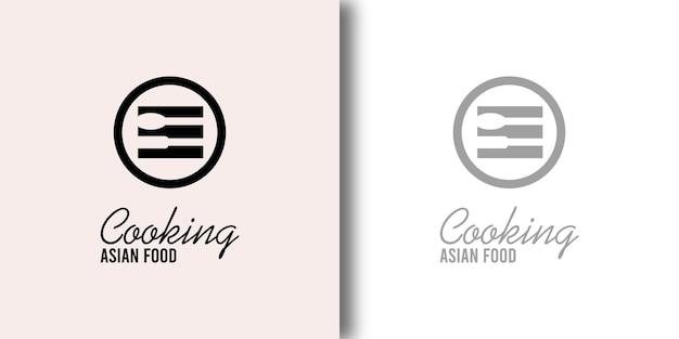 Koken aziatisch voedsel logo ontwerpsjabloon