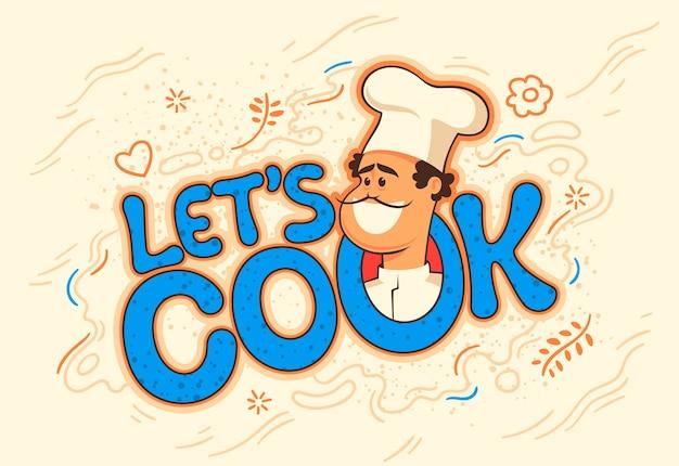 Koken bannerteken met komische chef-kok.