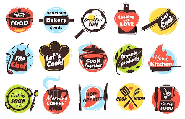 Koken belettering logo keukengerei etiketten met culinaire doodles badges voor straatvoedsel festival