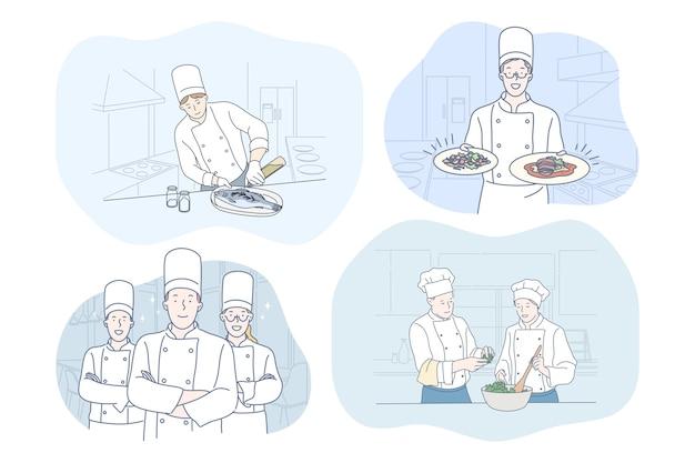 Koken, chef-kok, restaurant, recept, voedselconcept.
