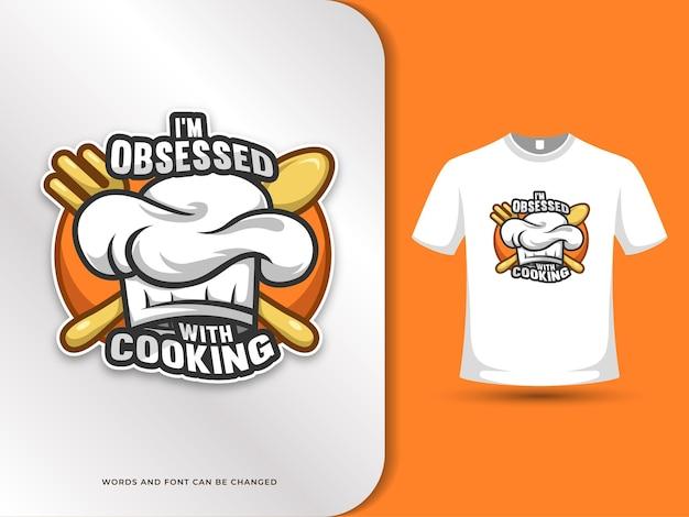 Koken citaten met hoed lepel en vork illustratie met t-shirt ontwerpsjabloon