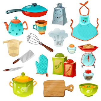 Koken decoratieve icons set