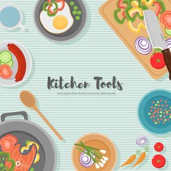 Koken gezond voedsel op keuken. handige maaltijd op houten tafel. gezond eten, groenten. bovenaanzicht illustratie van het keukengerei, snijplank met mes, borden, borden en verschillende voedingsmiddelen.