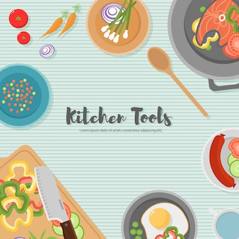 Koken gezond voedsel op keuken. handige maaltijd op houten tafel. gezond eten, groenten. bovenaanzicht illustratie van het keukengerei