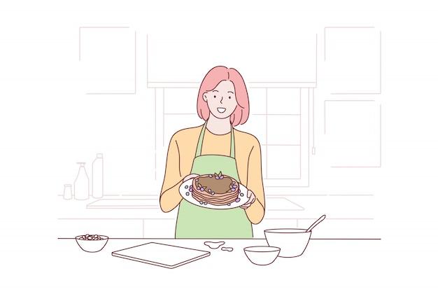 Koken, huisvrouw, voorstel, reclame concept
