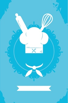 Koken illustratie met koksmuts