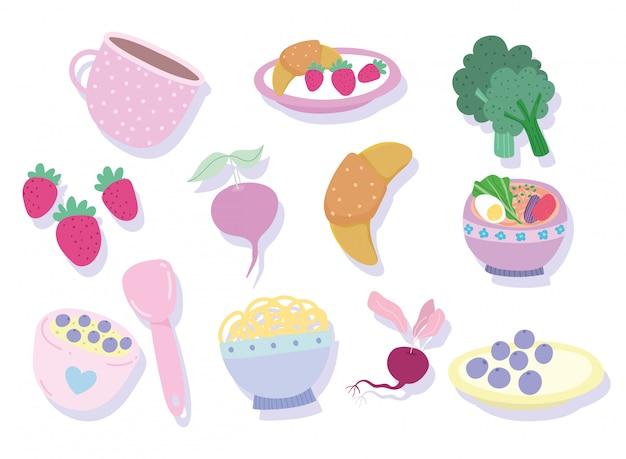 Koken ingrediënt producten fruis plantaardig dessert brood icoon