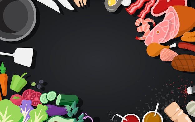 Koken ingrediënten en hulpmiddelen ingesteld