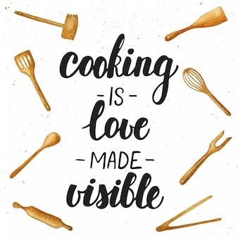 Koken is liefde gemaakt zichtbaar belettering.