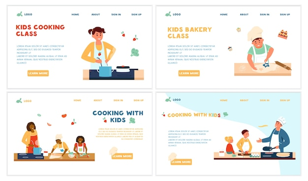 Koken kids class set website templates. volwassenen koken met kinderen. bakkerij klasse. salade, pannenkoeken, soep, koekjes maken. bestemmingspagina.