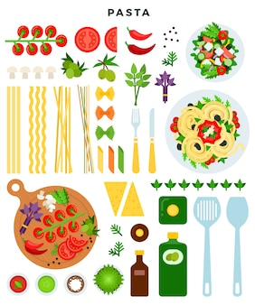 Koken klassieke italiaanse pasta illustratie