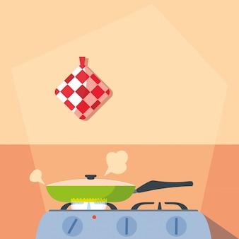 Koken met pan van keuken in fornuis