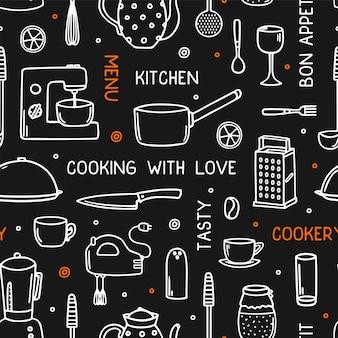 Koken naadloze patroon met keukengerei in doodle stijl.
