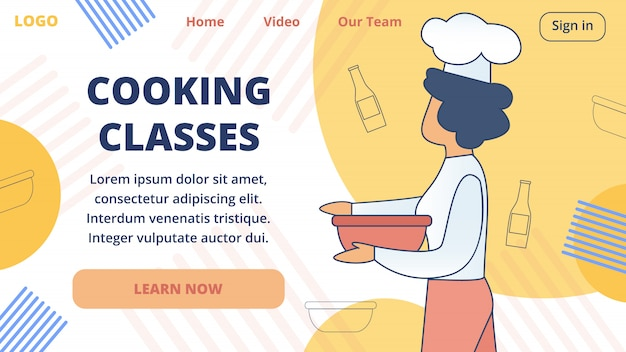 Koken online klassen vector website sjabloon